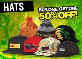 Hats, buy 1 get 1 50% off