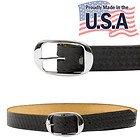 Mens Black Basket Weave Leather Belt