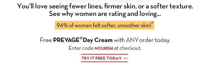 You'll love seeing fewer lines, firmer skin, or a softer texture. See why women are rating and loving... 94% of women felt softer, smoother skin!*  Free PREVAGE® Day Cream with ANY order today. Enter code NOURISH at checkout. TRY IT FREE TODAY.