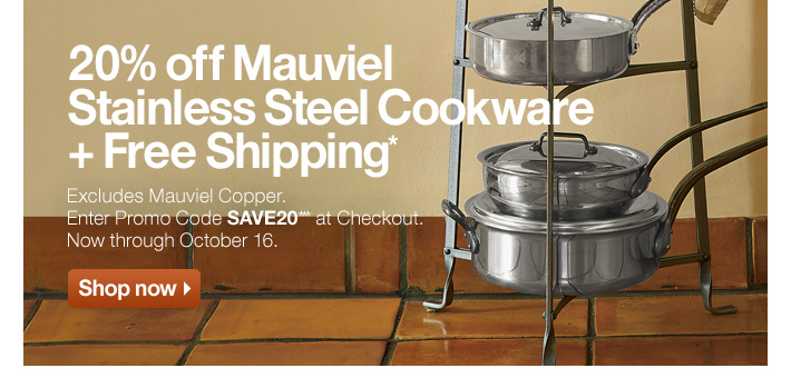 20% off Mauviel Stainless Steel Cookware + Free Shipping*