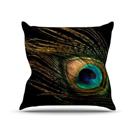 """Alison Coxon """"Peacock Black"""" Throw Pillow"""