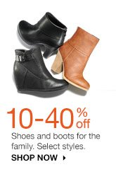 10-40% off Shoes and boots for the family. Select styles. shop now