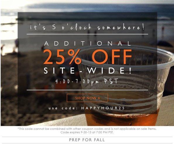 Happy Hour 25% Off