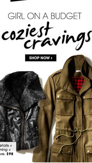 GIRL ON A BUDGET. coziest cravings. SHOP NOW