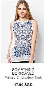 SOMETHING BORROWED Printed Embroidery Tank