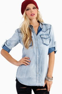 BRITNEY BLEACHED DENIM SHIRT 47