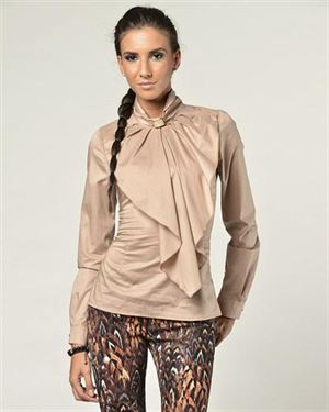 Glamour Ruffle Embellished Blouse Made In Italy