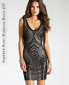 Studded Print Bodycon Dress