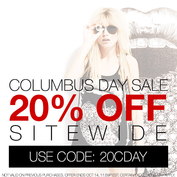 The Columbus Day sale starts now. Take 20% off sitewide.