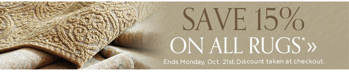 save 15% on all rugs