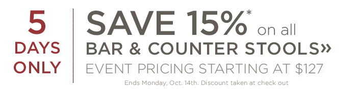 Save 15% on all bar and counter stools