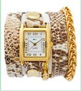 Cream Brown Snake Gold Motor Chain Wrap Watch