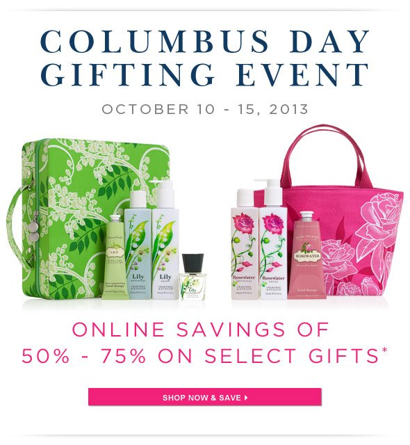 Columbus Day Gifting Event - 50% to 75% Off Select Items. Shop Now.
