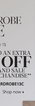MEN'S WARDROBE SALE! Take up to an extra 25% off regular and sale price merchandise** Shop now.