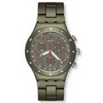 Swatch YCM4002AG Unisex Green Coat Purple Accents Green Dial Aluminum Chronograph Watch