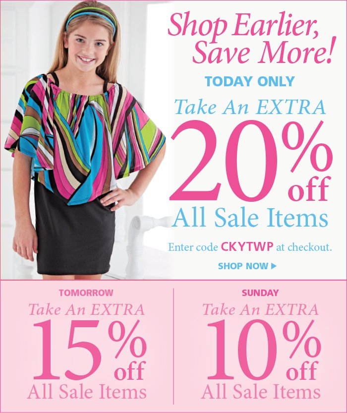 Save an extra 20% off all Sale Items Today Only with code CKYTWP at checkout