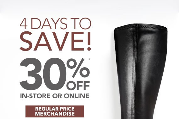 Take 30% off any regular price items in-store or online with coupon code 251408938 through Monday, October 14th, 2013.