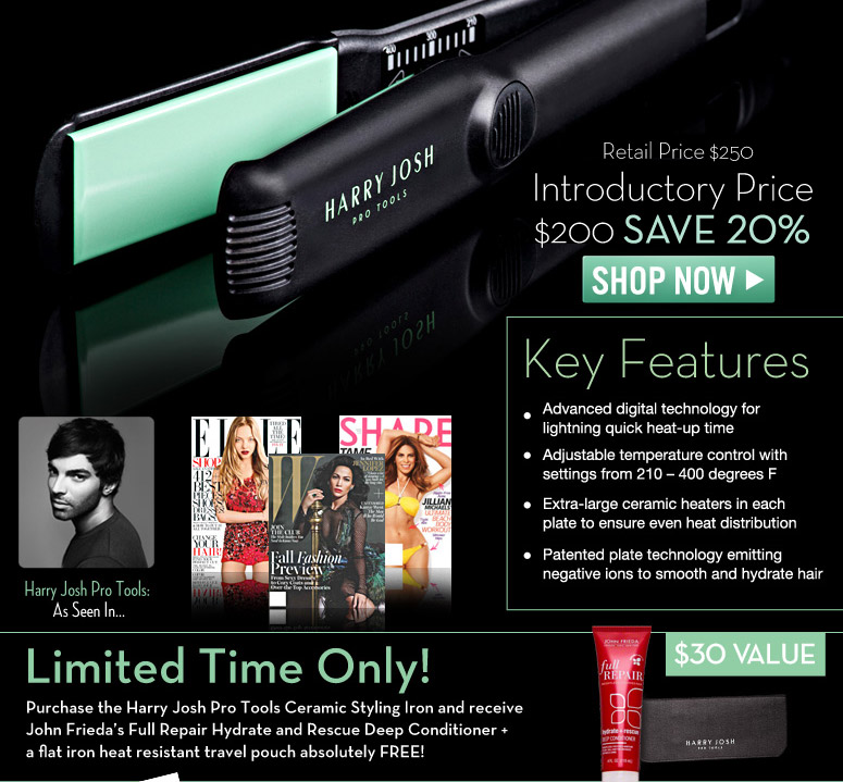 Suggested Retail $250.00 Introductory Price $200 Save 20%  Limited Time Only! Purchase the Harry Josh Pro Tools Ceramic Styling Iron and receive Intelligent Beauty Labs' Baobab Hair Oil Serum + a flat iron heat resistant travel pouch absolutely FREE!   Shop Now>>