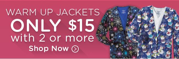 Warm Up Jackets Only $15 with 2 or more - Shop Now