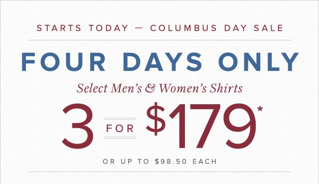 STARTS TODAY - COLUMBUS DAY SALE