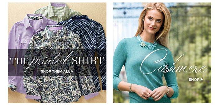 The printed shirt. Shop them all. Shop cashmere.