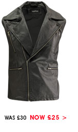 Leather Look Asymmetric Gilet