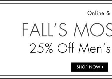 25% OFF Men's Jackets and Boots