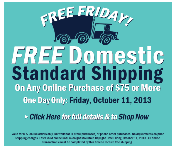 Free Shipping on $75 Online Orders