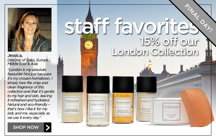 15% off London Collection. No promo code needed. Valid through Friday!