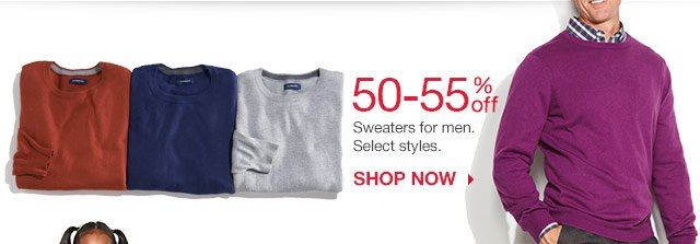50-55% off Sweaters for men.  Select styles. Shop now.