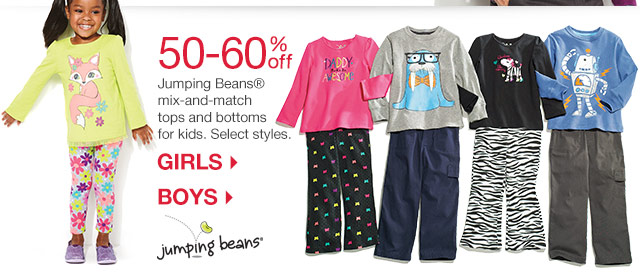 50-60% off Jumping Beans® mix-and-match tops and bottoms for kids.  Select styles.