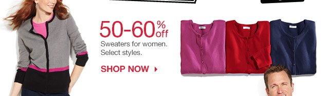 50-60% off Sweaters for women. Select styles. Shop now.