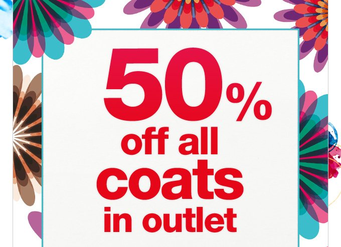 50% off all coats in outlet