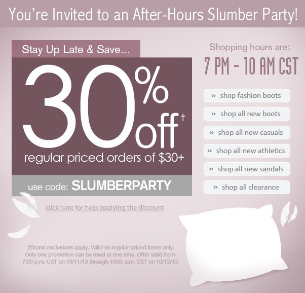 30% Off After-Hours Slumber Party On Now!