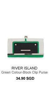 RIVER ISLAND Green Colour-Block Clip Top Purse