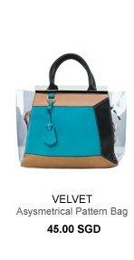 VELVET Asysmetrical Pattern Hand Bag