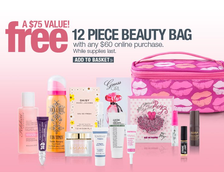 Online 12pc Beauty Bag:  free with any $60 purchase, a $75 value!