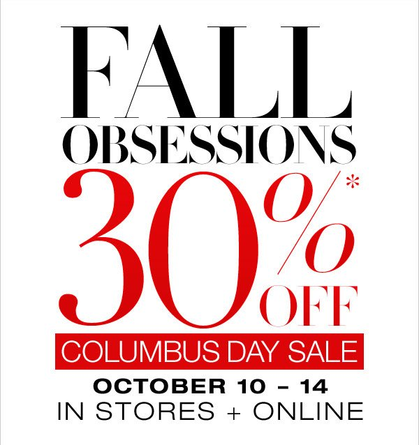 30% OFF COLUMBUS DAY SALE
