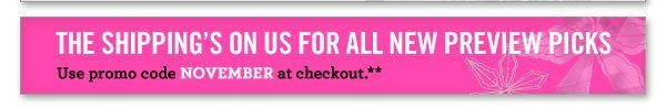 Use promo code NOVEMBER at checkout.**
