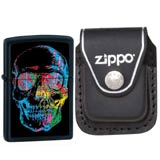 Zippo 28042 Classic Black Matte X-Ray Skull Windproof Pocket Lighter with Zippo Black Leather Clip Pouch