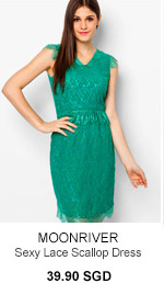 MOONRIVER Sexy Lace Scallop Dress