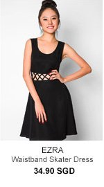 EZRA Lattice Waistband Skater Dress