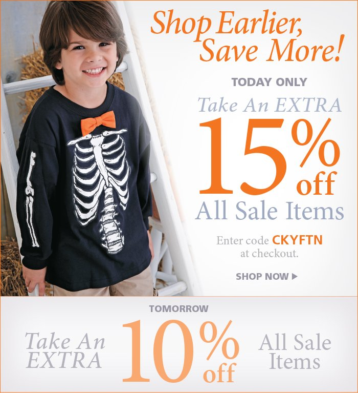 Save an extra 15% off all Sale Items Today Only with code CKYFTP at checkout