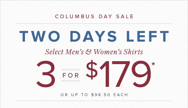 COLUMBUS DAY SALE - TWO DAYS LEFT