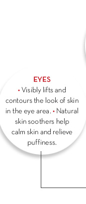 EYES • Visibly lifts and contours the look of skin in the eye area. • Natural skin soothers help calm skin and relieve puffiness.