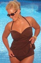 Women's Plus Size Swimwear - Always For Me Chic Solids - Isabella 2 Pc Twist Bandeau Swimsuit