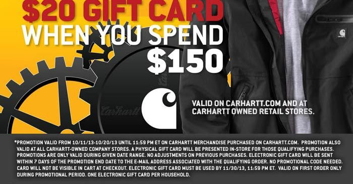 Get A $20 Gift Card When You Spend $150 - Click Here To View The Entire Carhartt Collection