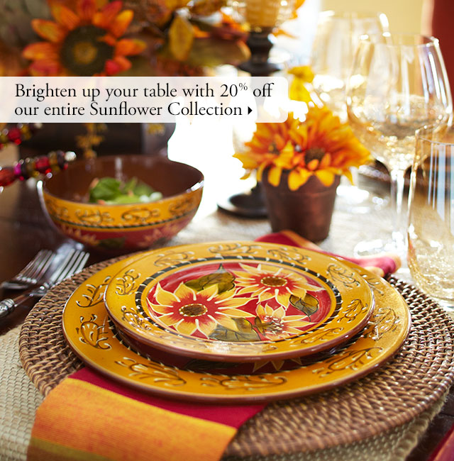 Brighten up your table with 20% off our entire Sunflower Collection