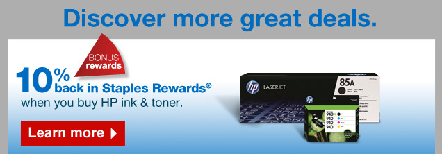 Discover more great deals. Bonus rewards: get 10% back in Staples  Rewards when you buy HP ink and toner. Learn more.