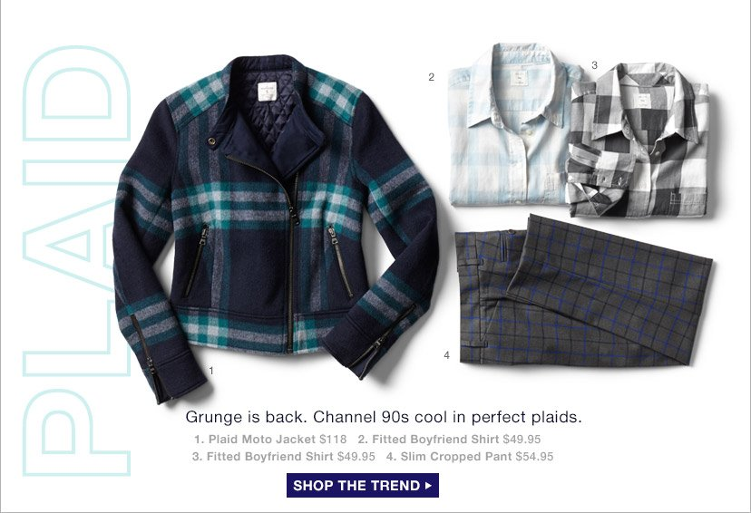 Grunge is back. Channel 90s cool in perfect plaids. | SHOP THE TREND